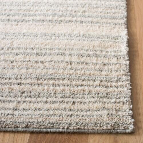 Safavieh Martha Stewart Collection Lucia Shag Stripe Accent Rug - Light Gray/White Perspective: top