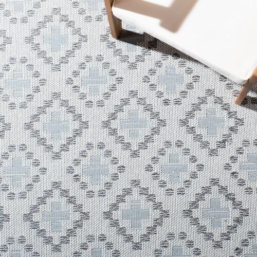 Safavieh Martha Stewart Courtyard Indoor Outdoor Floor Runner - Ivory / Gray Perspective: top