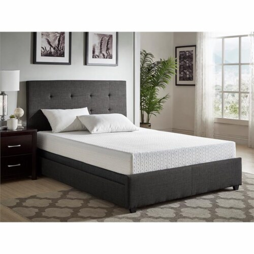 Pemberly Row 8  Modern Fabric Queen Gel Memory Mattress in White Perspective: top