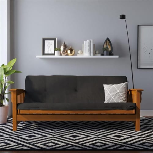 Pemberly Row 6 Inch Futon Mattress Full in Black Microfiber Perspective: top
