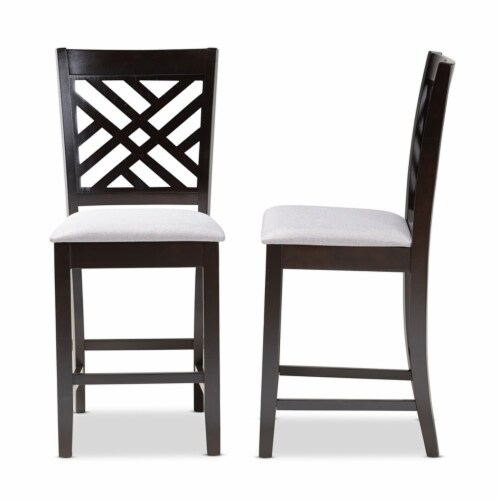 Bowery Hill 25 H Upholstered Wood Bar Stool in Gray and Brown (Set of 2) Perspective: top