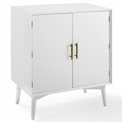Home Square 2 Door Wood Bar Cabinet Set in White (Set of 2) Perspective: top