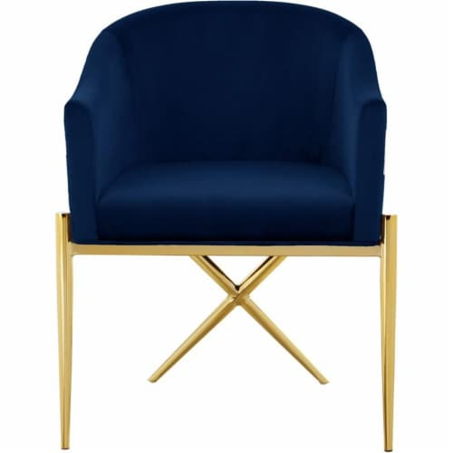 Home Square 2 Piece Velvet Dining Chair Set with Gold Metal Base in Navy Blue Perspective: top