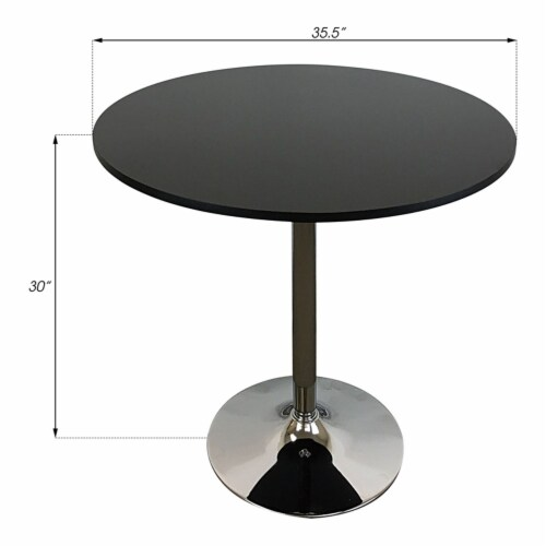 Pemberly Row Round Modern Wood Dining Table in Black Perspective: top