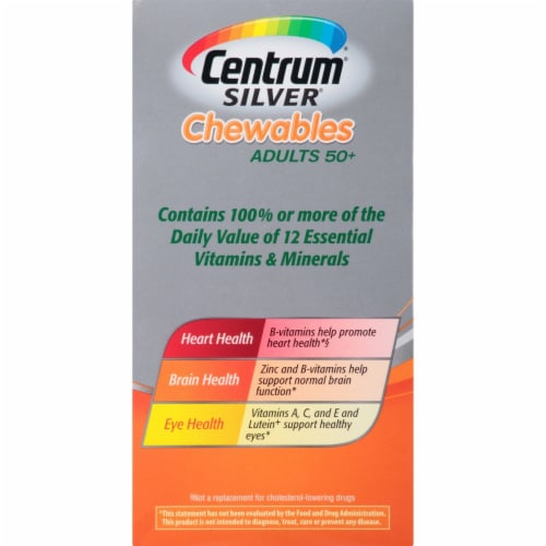 Centrum Silver Adults 50 + Chewable Complete Multivitamin / Multimineral Supplement Tablets Perspective: top