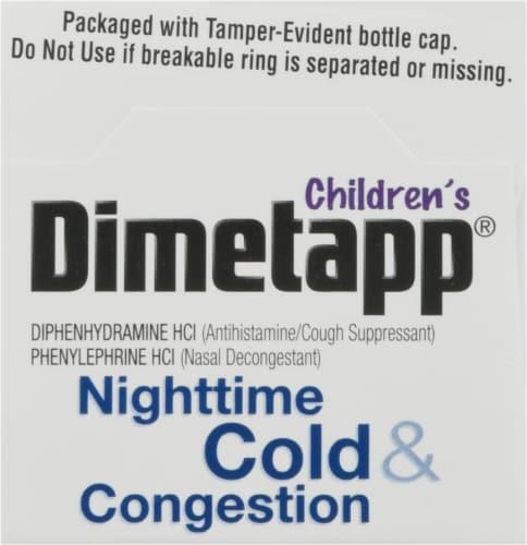 Dimetapp Children's Nighttime Cold & Congestion Grape Flavor Liquid Decongestant Perspective: top
