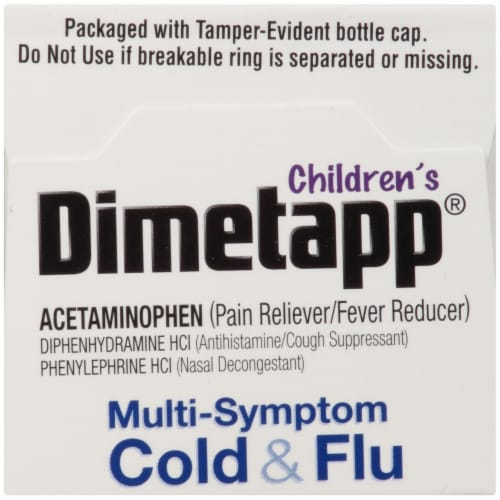 Dimetapp Children's Multi-Symptom Red Grape Flavor Cold & Flu Liquid Medicine Perspective: top