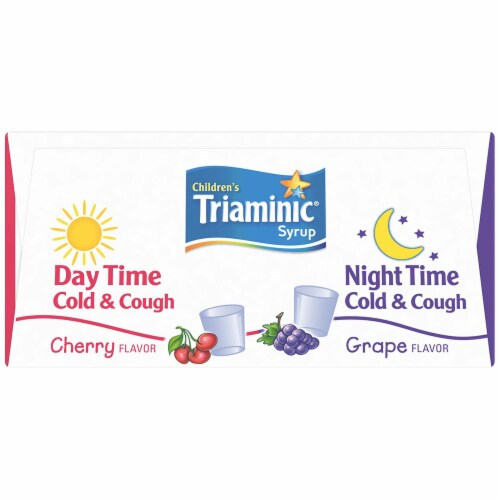 Triaminic® Children's Cherry Flavor Day Time and Grape Flavor Night Time Cold & Cough Syrup Perspective: top