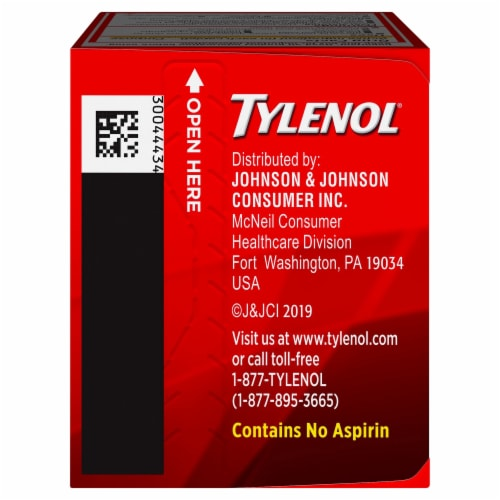Tylenol® Extra Strength Acetaminophen Pain Reliever & Fever Reducer Caplets 500mg Perspective: top