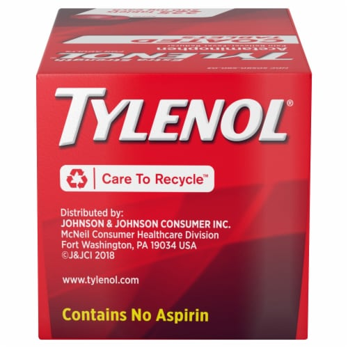 Tylenol Extra Strength Coated Pain Reliever and Fever Reducer Tablets Perspective: top