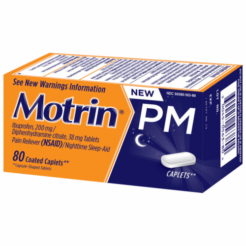 Motrin PM Pain Reliever & Nighttime Sleep-Aid Coated Caplets 200mg Perspective: top