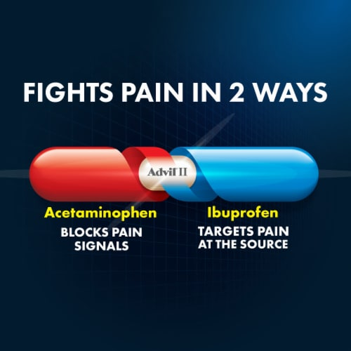 Advil Dual Action Acetaminophen & Ibuprofen Pain Relieving Caplets Perspective: top