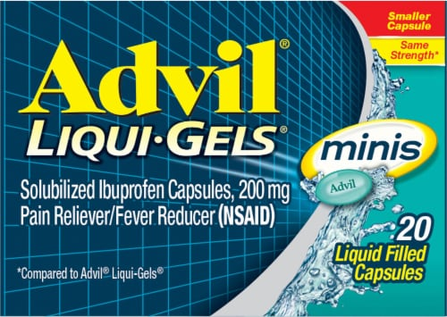 Advil Liqui-Gels Minis Pain Reliever/Fever Reducer Ibuprofen Liquid Filed Capsules 200mg Perspective: top