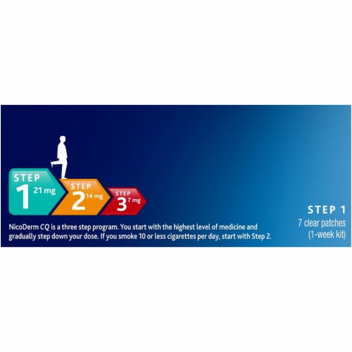 NicoDerm CQ Step 1 Clear Nicotine Patches 21mg Perspective: top