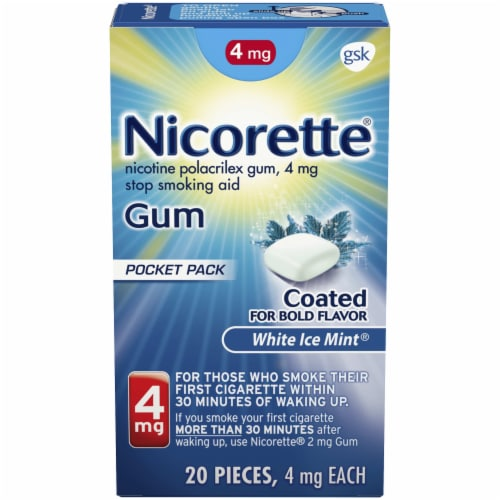 Nicorette White Ice Mint Nicotine Gum 4mg Perspective: top