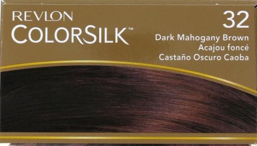 Revlon ColorSilk 32 Dark Mahogany Brown Hair Color Perspective: top