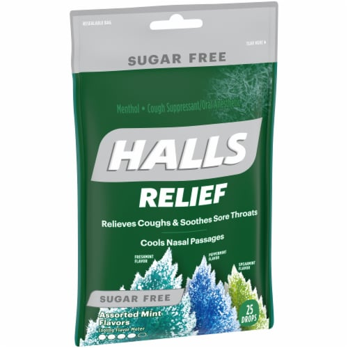 HALLS Relief Sugar Free Assorted Mint Flavor Cough Suppressant Drops Perspective: top