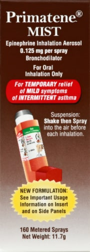 Primatene MIST Epinephrine Aerosol 0.125mg Inhalation Perspective: top