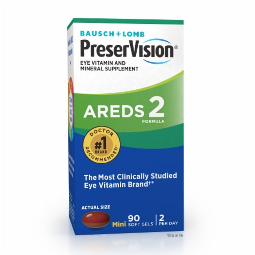 Bausch & Lomb PreserVision Eye Vitamin & Mineral Supplement Areds 2 Formula Soft Gels Perspective: top