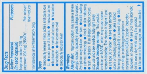 Aleve Naproxen Sodium 220mg Liquid Gels Perspective: top