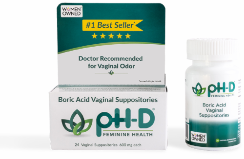 pH-D Feminine Health Boric Acid Vaginal Suppositories 600mg Perspective: top