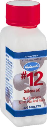 Hyland's Homeopathic #12 Silicea 6x Skin Eruptions Brittle Hair & Nails Perspective: top