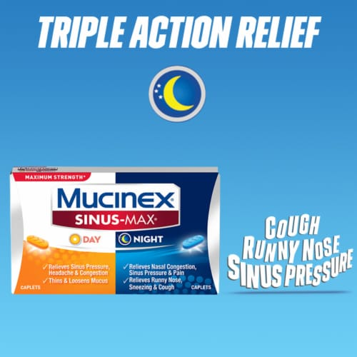 Mucinex Sinus-Max Max Strength Day & Night Sinus Pressure and Congestion Medicine Caplets Perspective: top