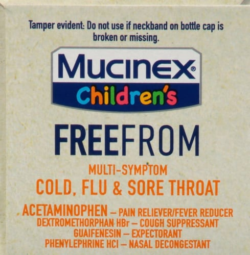 Mucinex Children's Freefrom Multi-Symptom Elderberry & Cherry Flavor Cold Flu & Sore Throat Liquid Perspective: top