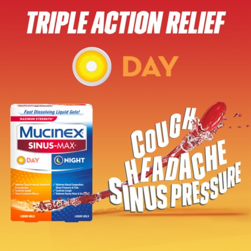 Mucinex Sinus-Max Max Strength Day & Night Sinus Pressure and Congestion Liquid Gels Perspective: top