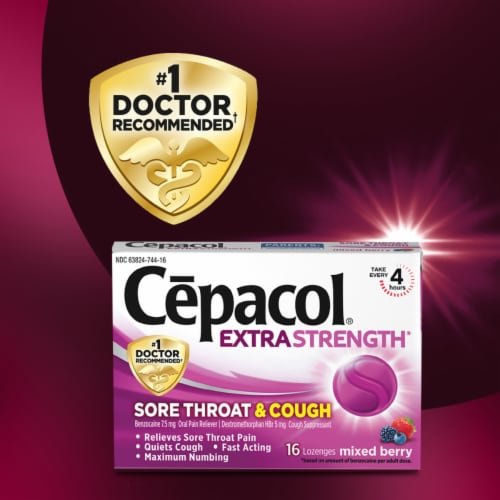 Cepacol Extra Strength Sore Throat & Cough Reliever Mixed Berry Flavored Lozenges Perspective: top