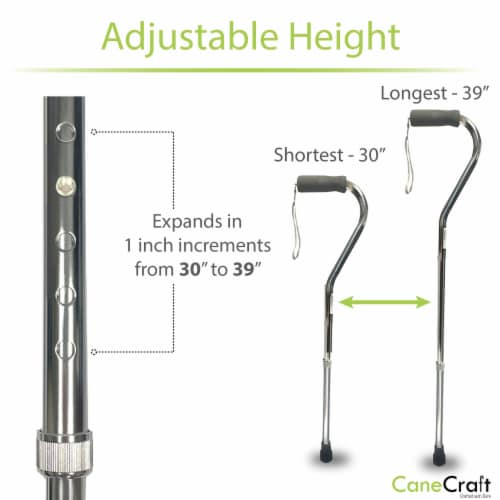 Offset Handle Adjustable Walking Canes with Soft Foam Grip - Silver Perspective: top