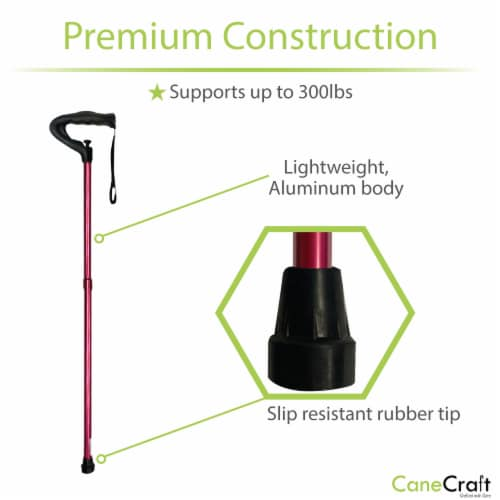 One Push Button Height Adjustable Walking Cane - Red Perspective: top