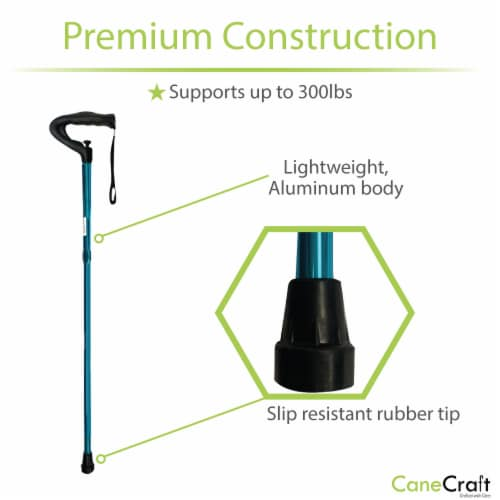 One Push Button Height Adjustable Walking Cane - Blue2 Perspective: top