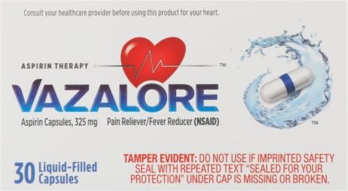 Vazalore Liquid-Filled Aspirin Capsules Perspective: top