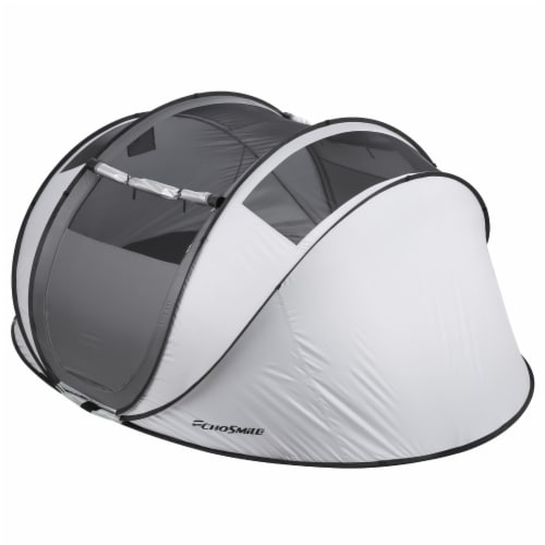 Echosmile 4-6 Person Gray Pop Up Tent With Rain Fly Perspective: top