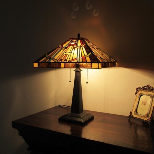 """CHLOE Lighting FALKNER Tiffany-style Victorian 2 Light Table Lamp 16"""" Wide Perspective: top"""