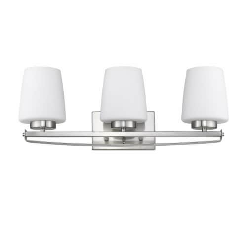 OLIVIA Contemporary 3 Light Brushed Nickel Etched White Glass 23  Wide Perspective: top