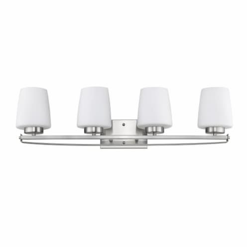 OLIVIA Contemporary 4 Light Brushed Nickel Etched White Glass 31  Wide Perspective: top