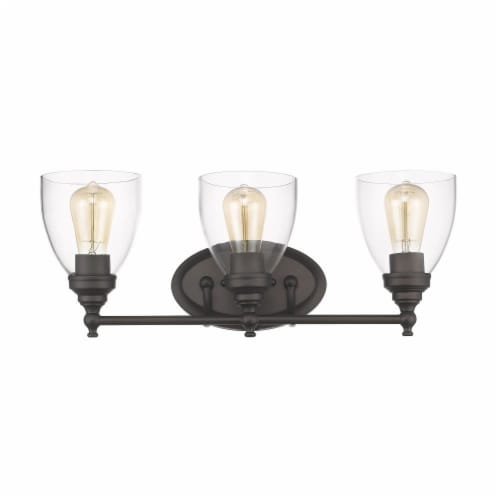 ELISSA Transitional 3 Light Rubbed Bronze Bath Vanity Light Clear Glass 23  Wide Perspective: top