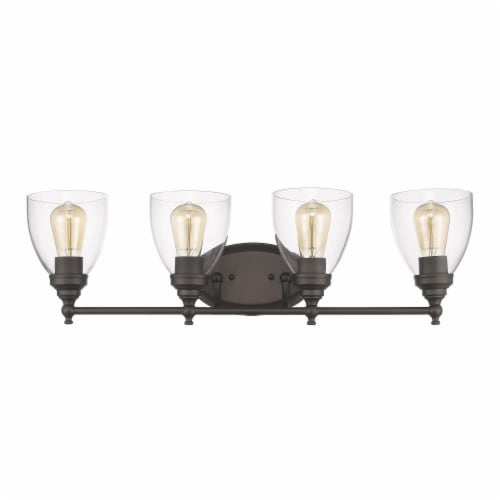 ELISSA Transitional 4 Light Rubbed Bronze Bath Vanity Light Clear Glass 30  Wide Perspective: top