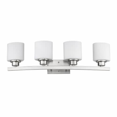 AALIYAH Contemporary 4 Light Brushed Nickel Opal White Glass 32  Wide Perspective: top