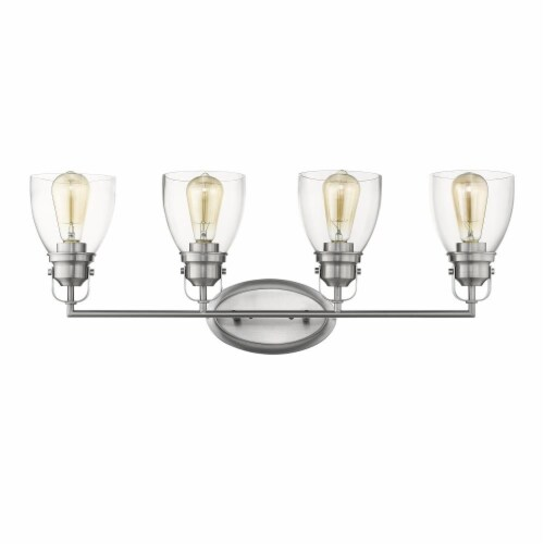 LILY Contemporary 4 Light Brushed Nickel Bath Vanity Light Clear Glass 31  Wide Perspective: top