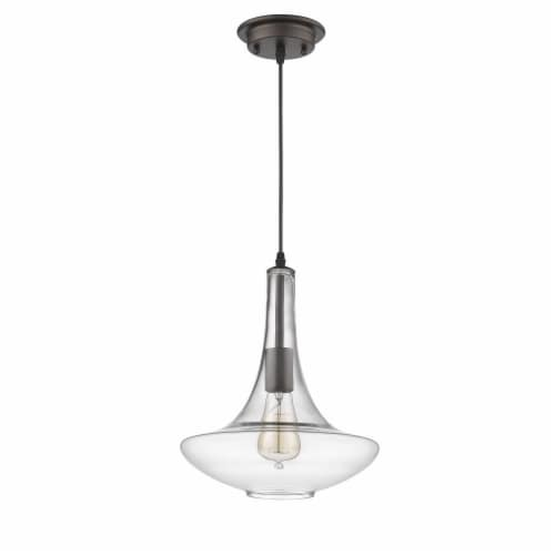 CHLOE Lighting LEAH Transitional 1 Light Rubbed Bronze Ceiling Mini Pendant 10  Wide Perspective: top