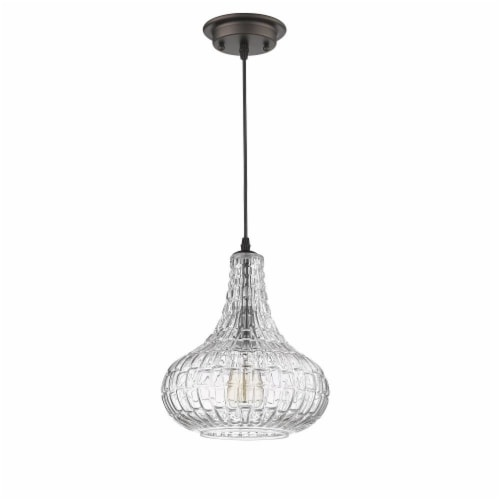 CHLOE Lighting ARIA Transitional 1 Light Rubbed Bronze Ceiling Mini Pendant 10  Wide Perspective: top