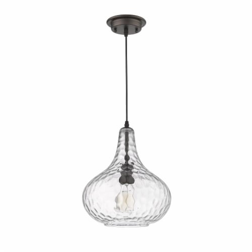 HAILEY Transitional 1 Light Rubbed Bronze Ceiling Mini Pendant 11  Wide Perspective: top