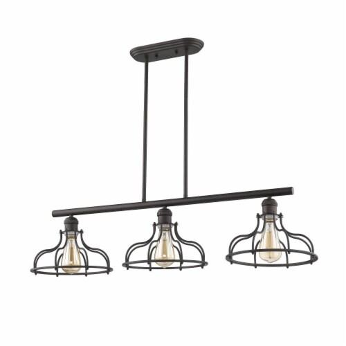 JAXON Industrial-style 3 Light Rubbed Bronze Island Hanging Fixture 37  Wide Perspective: top