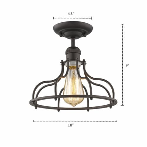 JAXON Industrial-style 1 Light Rubbed Bronze Semi-flush Ceiling Fixture 10  Wide Perspective: top