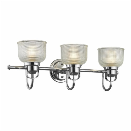 LUCIE Industrial-style 3 Light Chrome Finish Clear Prismatic Glass 25  Wide Perspective: top