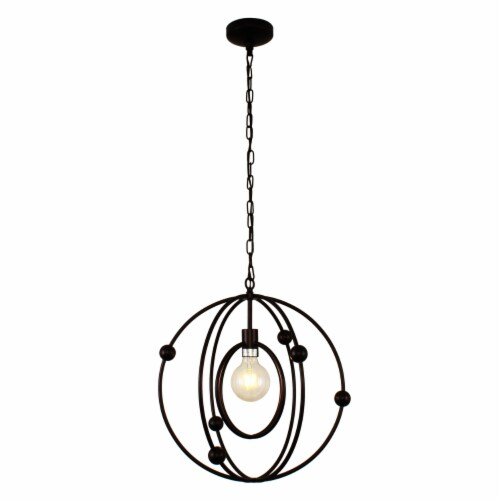 Lighting IRONCLAD Farmhouse 1 Light Oil Rubbed Bronze Ceiling Pendant 18  Wide Perspective: top