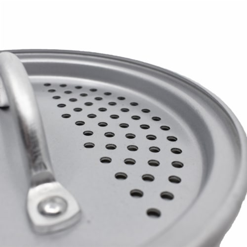 CanCooker Non Stick Cooking Pot Liquid Strainer Lid, 1 Size, Brushed Aluminum Perspective: top